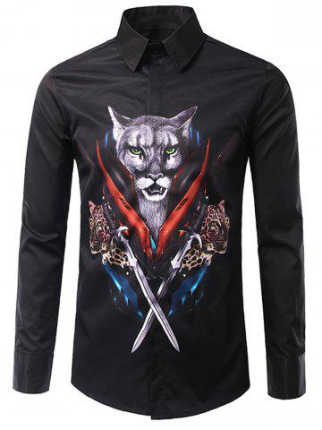 Chic 3D War Leopard Print Long Sleeve Shirt - M BLACK Mobile