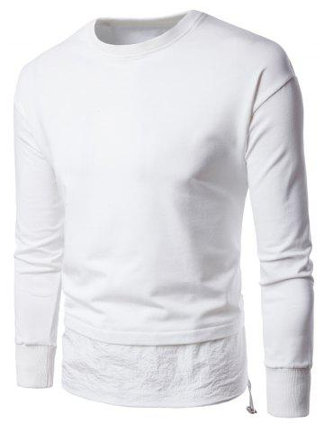 Store Panel Drawstring Design Long Sleeve Sweatshirt - XL WHITE Mobile