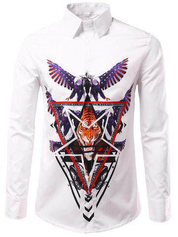Hot 3D Eagle and Tiger Geometric Print Patriotic Shirt - 3XL WHITE Mobile