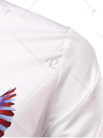 Affordable 3D Eagle and Tiger Geometric Print Patriotic Shirt - 3XL WHITE Mobile