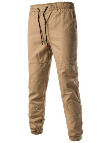 Chic Back Pockets Drawstring Beam Feet Jogger Pants KHAKI 3XL
