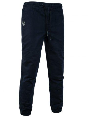 Back Pockets Drawstring Beam Feet Jogger Pants - Cadetblue - M