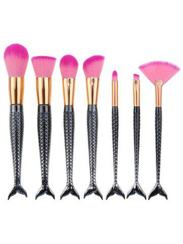 7Pcs Mermaid Tail Plating Handle Makeup Brushes Set - Black Grey
