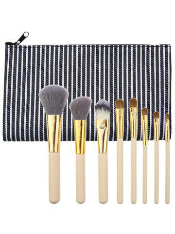 Kit de pinceaux à maquillage à usage multiple portable de 8 pcs Noir