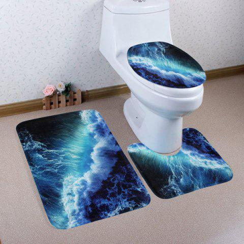 Outfit 3 Pieces Sea Surge Non Slip Bathroom Mats Set - DEEP BLUE  Mobile