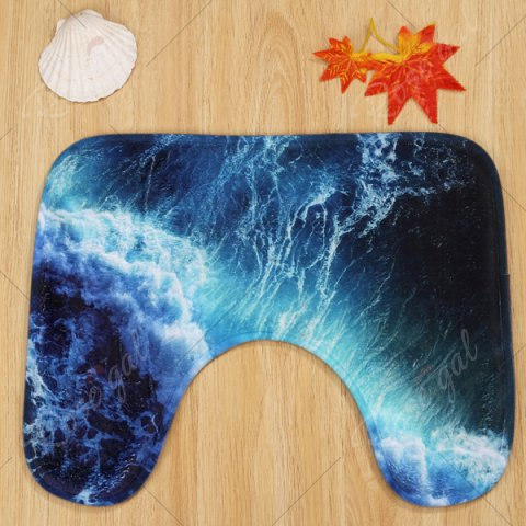 Unique 3 Pieces Sea Surge Non Slip Bathroom Mats Set - DEEP BLUE  Mobile