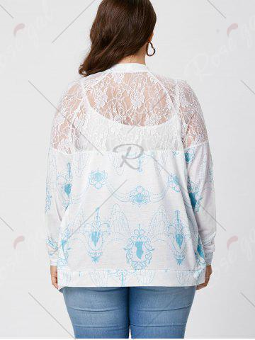 Latest Sheer Back Lace Crochet Long Sleeve Plus Size Cardigan - XL WHITE Mobile