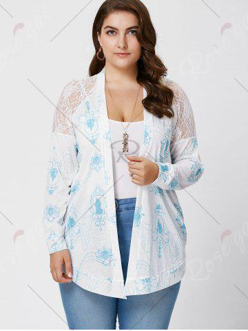 Buy Sheer Back Lace Crochet Long Sleeve Plus Size Cardigan - XL WHITE Mobile