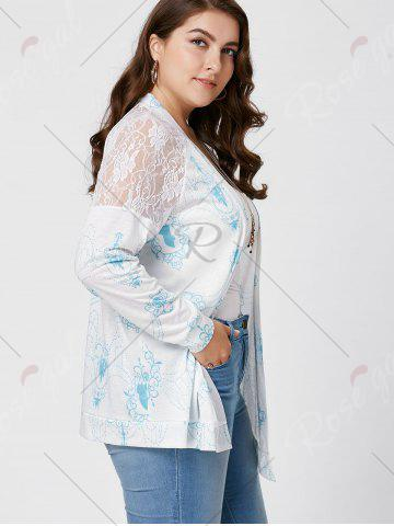 Chic Sheer Back Lace Crochet Long Sleeve Plus Size Cardigan - XL WHITE Mobile