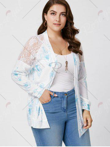Outfit Sheer Back Lace Crochet Long Sleeve Plus Size Cardigan - XL WHITE Mobile