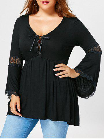Outfits Plus Size Flared Sleeve Empire Waist T-shirt BLACK XL