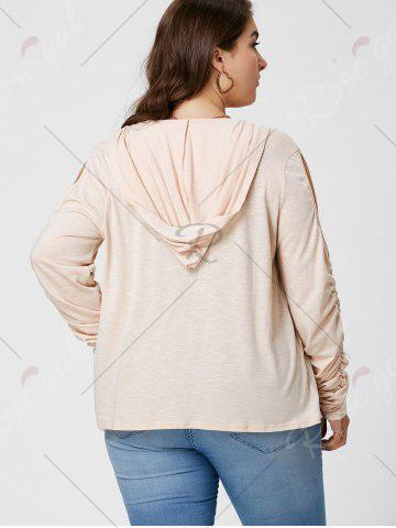 New Plus Size Long Sleeve Cold Shoulder Draped Cardigan - XL APRICOT Mobile