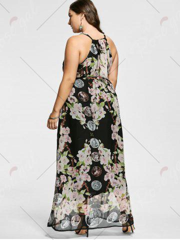 Outfits Floral Sleeveless Floor Length Plus Size Prom Dress - XL MULTICOLOR Mobile