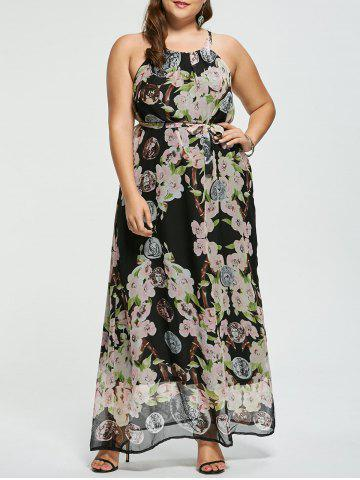 Cheap Floral Sleeveless Floor Length Plus Size Prom Dress - XL MULTICOLOR Mobile