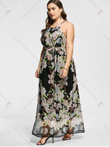 Latest Floral Sleeveless Floor Length Plus Size Prom Dress - XL MULTICOLOR Mobile