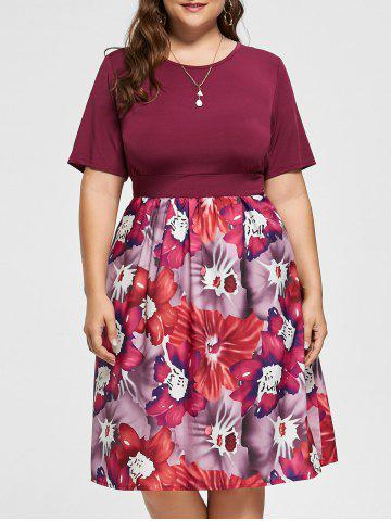 A Line Floral Plus Size Midi Dress - Purplish Red - 4xl