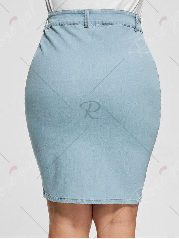 Outfit Light Wash Bodycon Button Up Denim Skirt - 3XL LIGHT BLUE Mobile