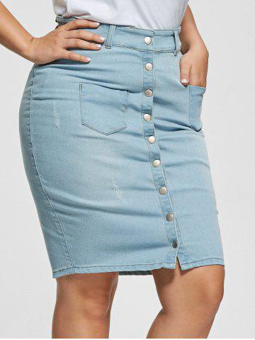Best Light Wash Bodycon Button Up Denim Skirt LIGHT BLUE 4XL