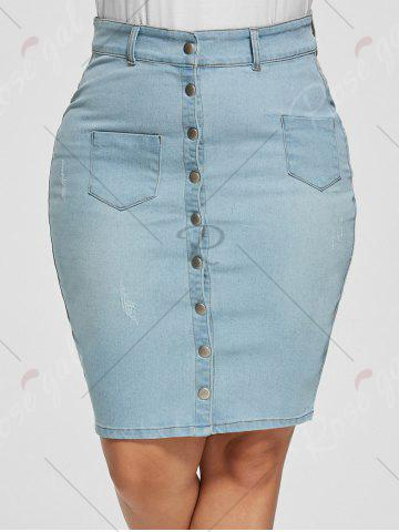 Outfit Light Wash Bodycon Button Up Denim Skirt - 5XL LIGHT BLUE Mobile