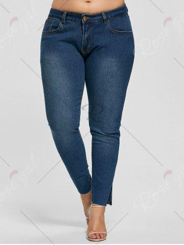 Best Ankle Length Skinny Plus Size Jeans - 5XL DENIM BLUE Mobile