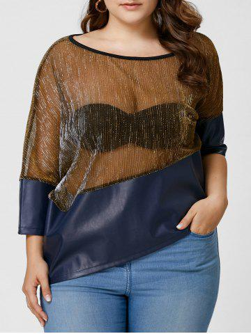 Buy Plus Size Faux Leather Trim See Through Top - XL COLORMIX Mobile