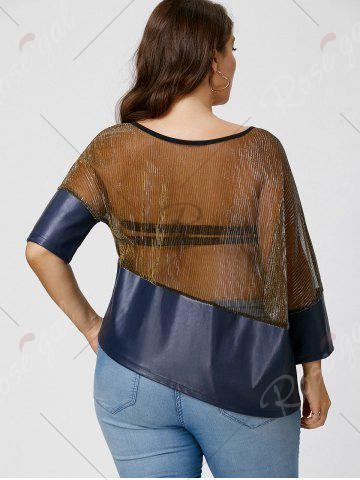 Outfits Plus Size Faux Leather Trim See Through Top - XL COLORMIX Mobile