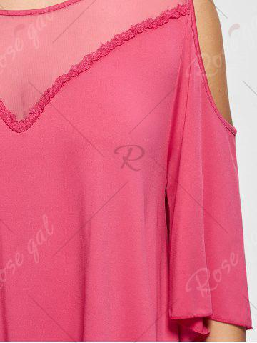 Discount Mesh Trim Cold Shoulder Plus Size Tunic Top - 2XL ROSE RED Mobile