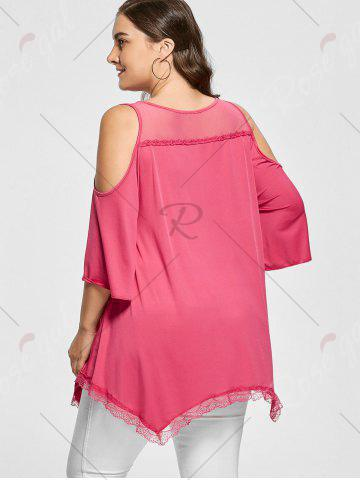 Hot Mesh Trim Cold Shoulder Plus Size Tunic Top - 2XL ROSE RED Mobile