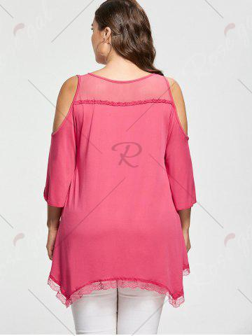 Best Mesh Trim Cold Shoulder Plus Size Tunic Top - 2XL ROSE RED Mobile