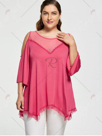 Trendy Mesh Trim Cold Shoulder Plus Size Tunic Top - 2XL ROSE RED Mobile