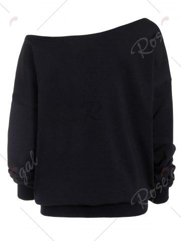 Latest Skew Neck Drop Shoulder Butterfly Skull Sweatshirt - ONE SIZE BLACK Mobile