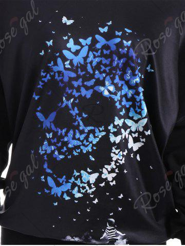 New Skew Neck Drop Shoulder Butterfly Skull Sweatshirt - ONE SIZE BLACK Mobile