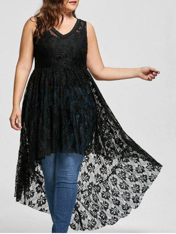 Affordable High Low See Through Lace Plus Size Top - XL BLACK Mobile