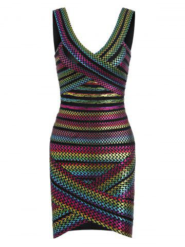 Discount Bodycon Bronzing Rainbow Bandage Dress - L COLORMIX Mobile