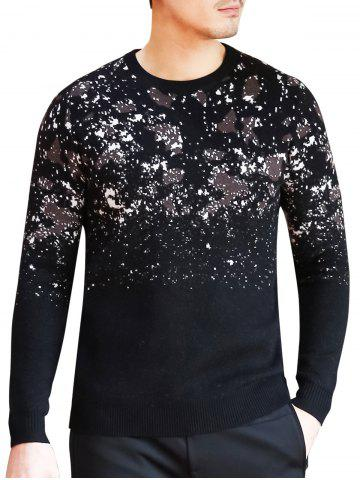 Fashion Camouflage Pattern Crew Neck Sweater - 3XL BLACK Mobile
