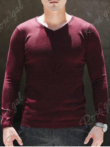 Trendy V Neck Plain Pullover Sweater - XL WINE RED Mobile