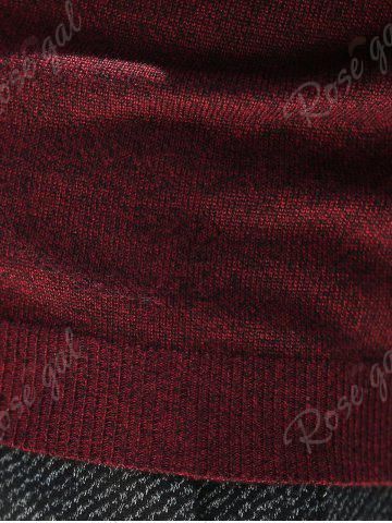 Hot V Neck Plain Pullover Sweater - 3XL WINE RED Mobile