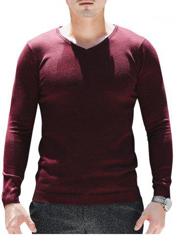 Latest V Neck Plain Pullover Sweater - 3XL WINE RED Mobile