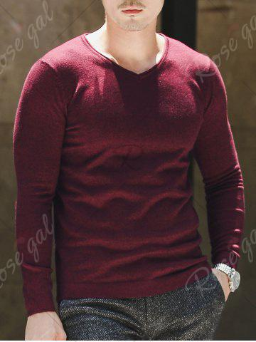 Fancy V Neck Plain Pullover Sweater - 3XL WINE RED Mobile