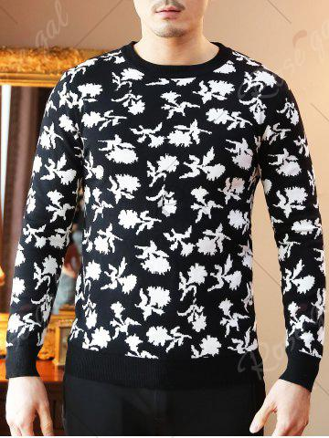 Trendy Crew Neck Floral Pattern Sweater - XL BLACK Mobile