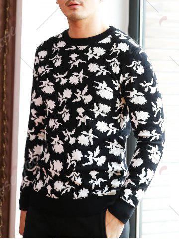 New Crew Neck Floral Pattern Sweater - 2XL BLACK Mobile