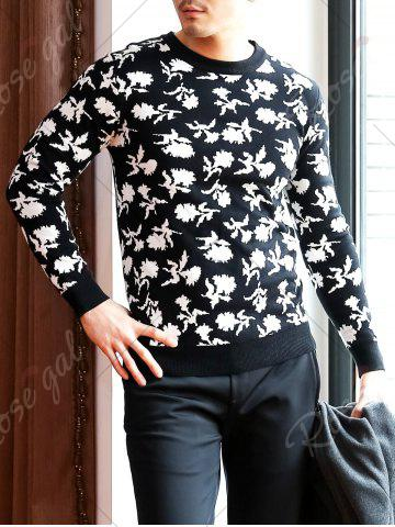 Outfits Crew Neck Floral Pattern Sweater - 2XL BLACK Mobile