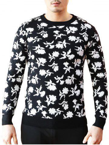 New Crew Neck Floral Pattern Sweater - 3XL BLACK Mobile