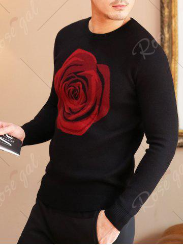 Hot Crew Neck Rose Pattern Sweater - XL BLACK Mobile