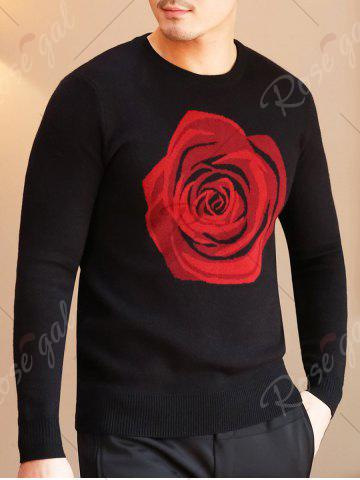 Outfits Crew Neck Rose Pattern Sweater - XL BLACK Mobile