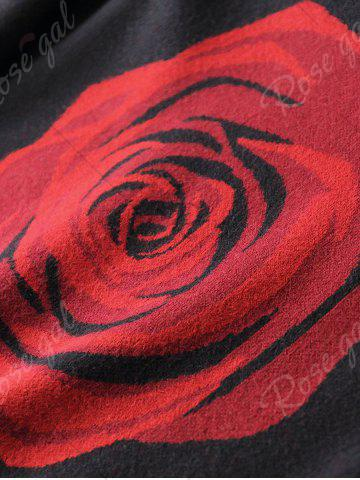 Sale Crew Neck Rose Pattern Sweater - XL BLACK Mobile