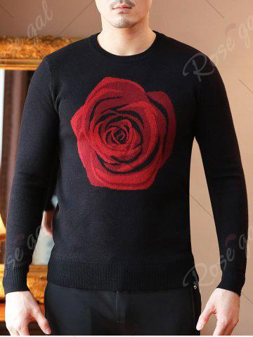 Latest Crew Neck Rose Pattern Sweater - XL BLACK Mobile