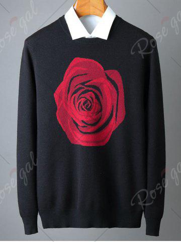 Discount Crew Neck Rose Pattern Sweater - 2XL BLACK Mobile