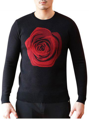 Discount Crew Neck Rose Pattern Sweater - 3XL BLACK Mobile