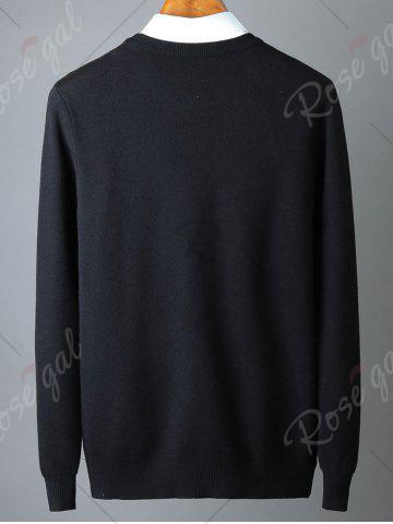 Outfit Crew Neck Rose Pattern Sweater - 3XL BLACK Mobile
